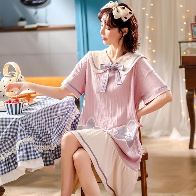 【Secret Lover】翻領粉色小兔雙星可外穿居家服洋裝SL22051(女短袖可外穿居家服洋裝)
