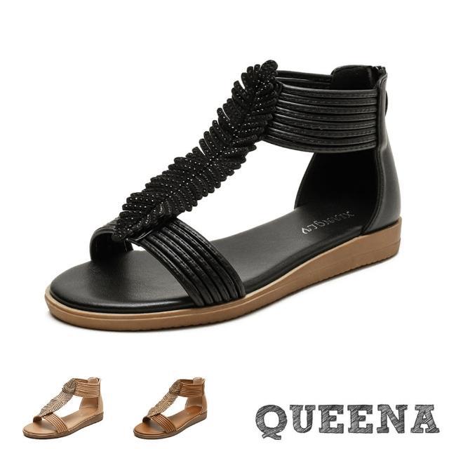 【QUEENA】厚底涼鞋 鑽飾涼鞋/美鑽葉片線繩造型時尚羅馬涼鞋(3色任選)