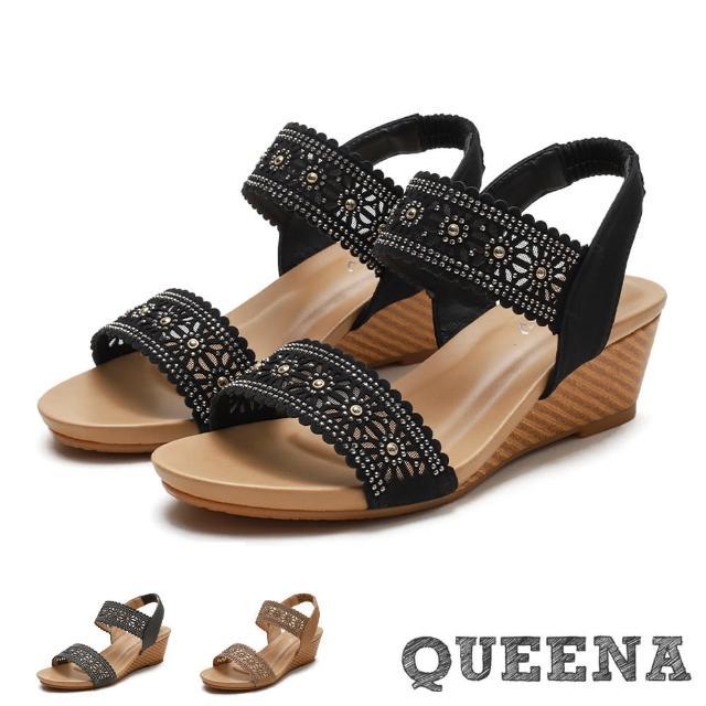 【QUEENA】楔型涼鞋 一字涼鞋/復古縷空刻花燙鑽一字帶造型坡跟羅馬涼鞋(3色任選)