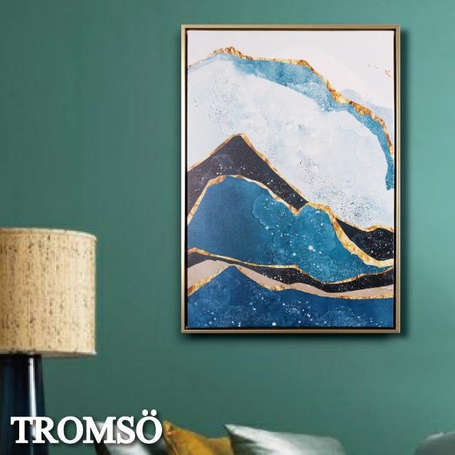 【TROMSO】北歐時代風尚有框畫-湛藍金山WA162(無框畫掛畫掛飾抽象畫)