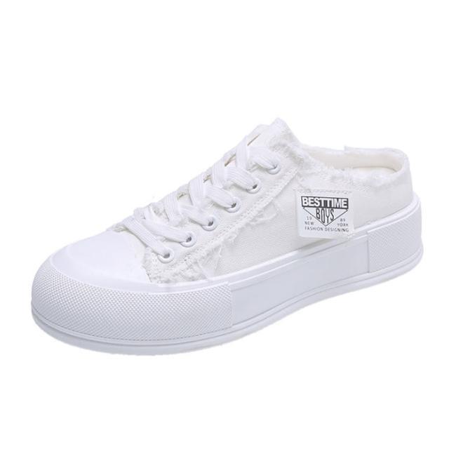 【Taroko】舒適帆布透氣厚底休閒穆勒鞋(2款4色可選)