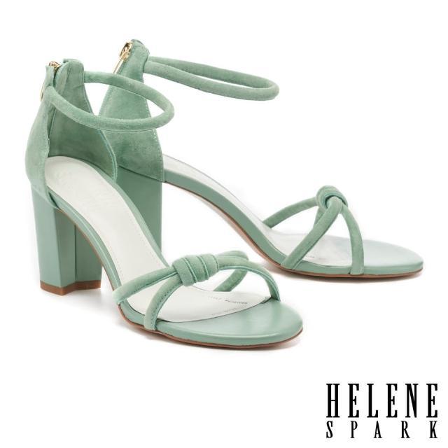 HELENE SPARK【HELENE SPARK】簡約時髦扭結繫帶粗高跟涼鞋(綠)
