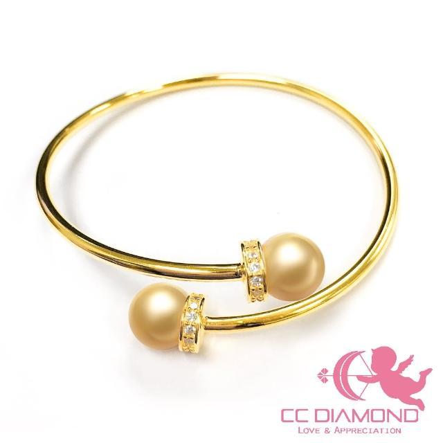 【CC Diamond】義大利進口925純銀鑲南洋海水金珠手環(8.5-9mm)