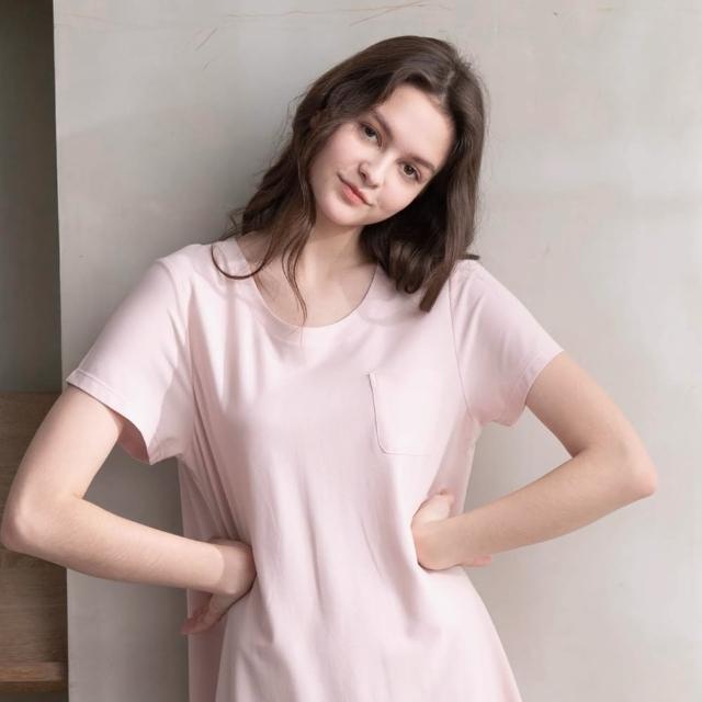 【La Felino 羅絲美】自由自在短袖洋裝睡衣(恬靜粉)