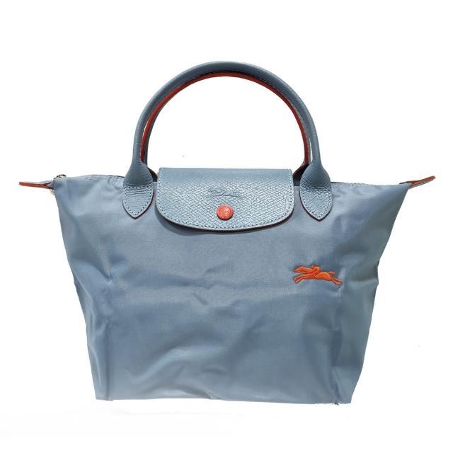 【LONGCHAMP】LE PLIAGE CLUB 短把摺疊手提刺繡水餃包 S號(淺藍)