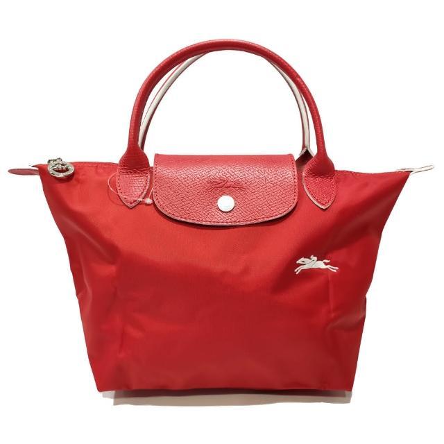 【LONGCHAMP】LE PLIAGE CLUB 短把摺疊手提刺繡水餃包 S號(紅色)