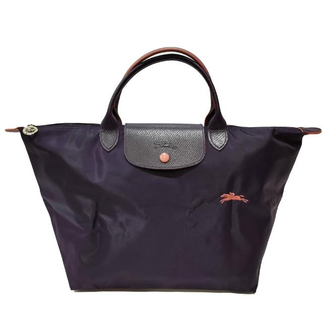 【LONGCHAMP】LE PLIAGE CLUB 短把摺疊手提刺繡水餃包 M號(深紫色)
