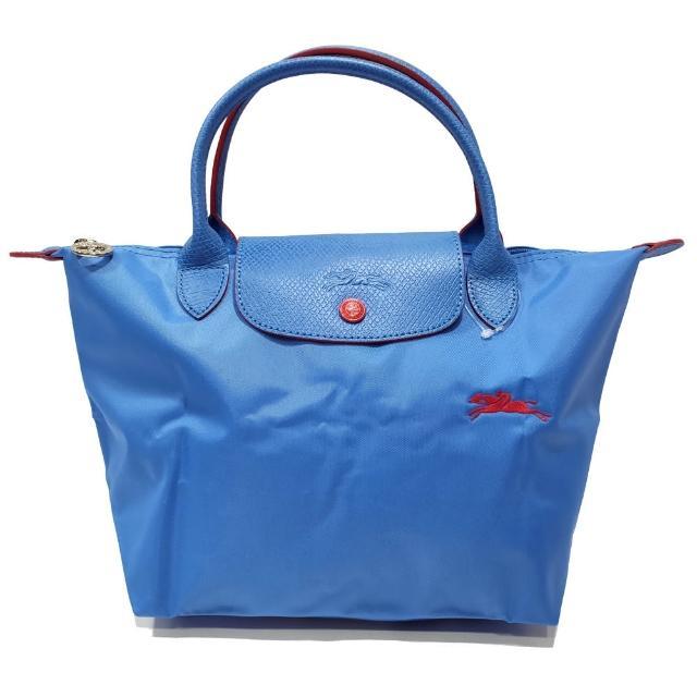 【LONGCHAMP】LE PLIAGE CLUB 短把摺疊手提刺繡水餃包 S號(寶藍色)