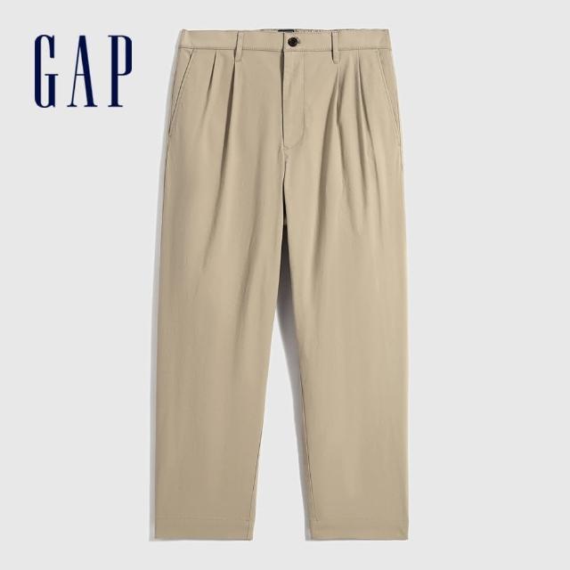 【GAP】男裝 通勤闊腿型寬鬆休閒褲(701293-卡其色)