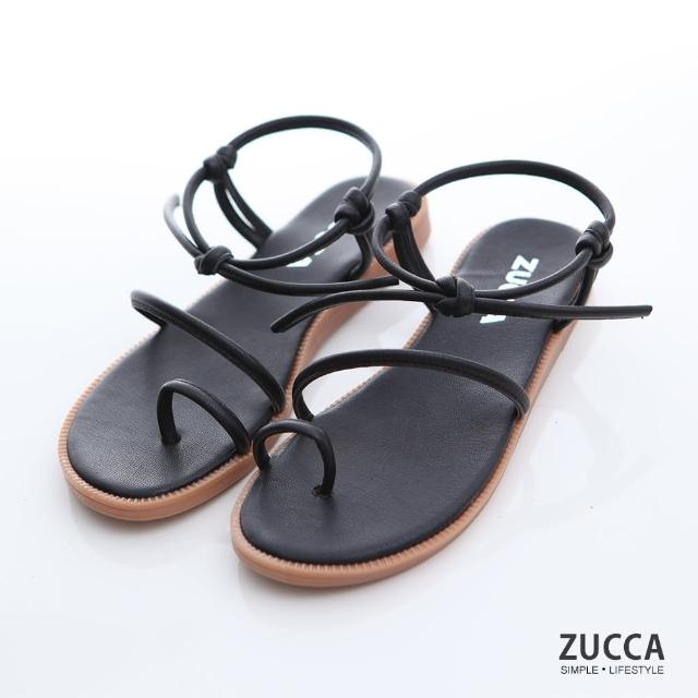 【ZUCCA&bellwink】編繩繞指環帶涼鞋z7001bk-黑色