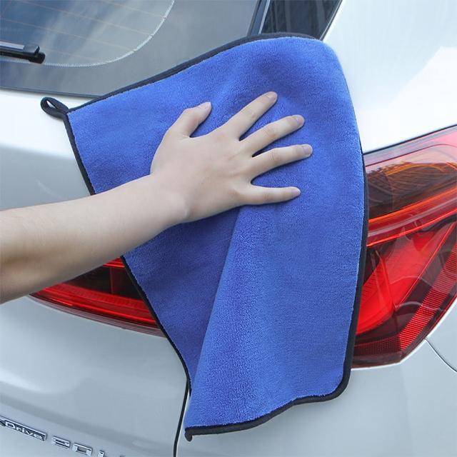 【E.City】4入-可掛式加厚雙面珊瑚絨洗車布玻璃擦拭巾(自助洗車好幫手)