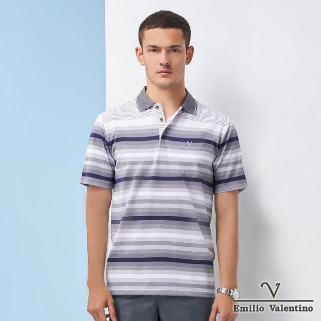 【Emilio Valentino 范倫鐵諾】男裝 彩漾細緻漸層橫紋POLO衫_藍/灰/白(21-1V5802)