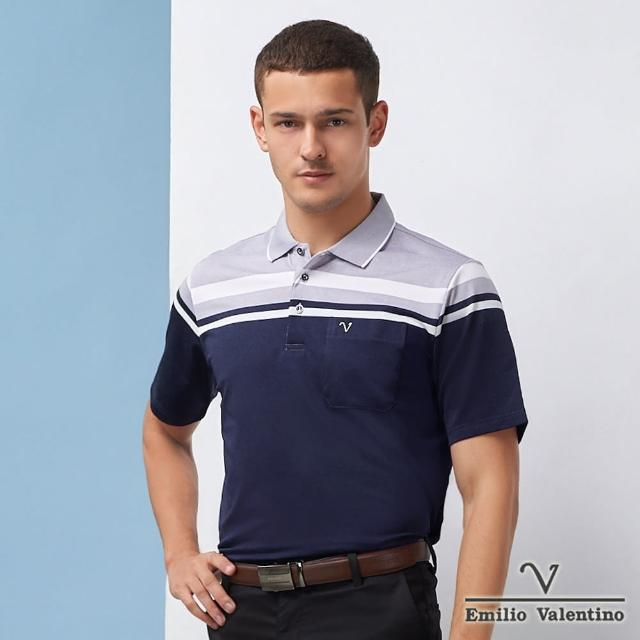 【Emilio Valentino 范倫鐵諾】男裝 英倫風尚雅緻橫紋POLO衫_藍/灰/白(21-1V5803)