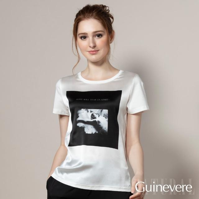 【矜蘭妃】蠶絲彈力緞印花短袖T恤(黑白色系組)