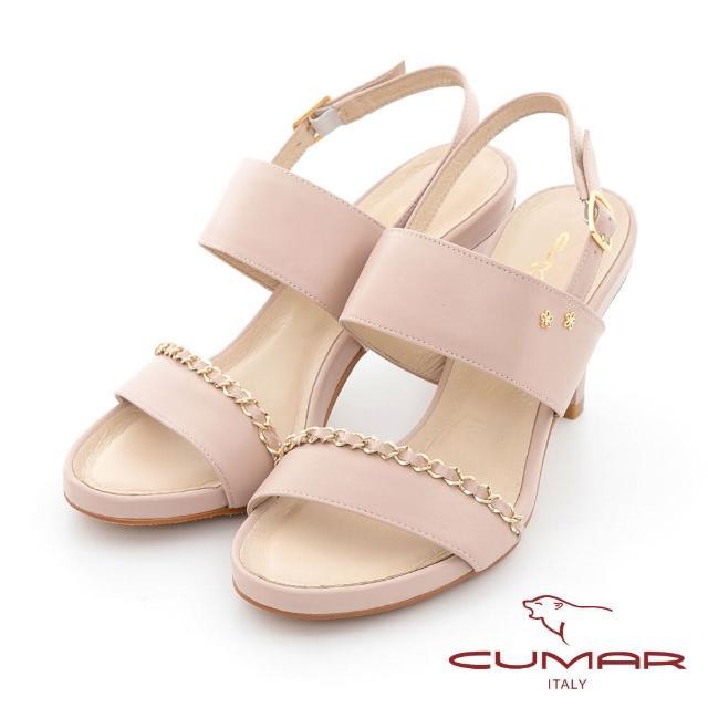 【CUMAR】鍊條兩截式一字帶高跟涼鞋(粉紅色)
