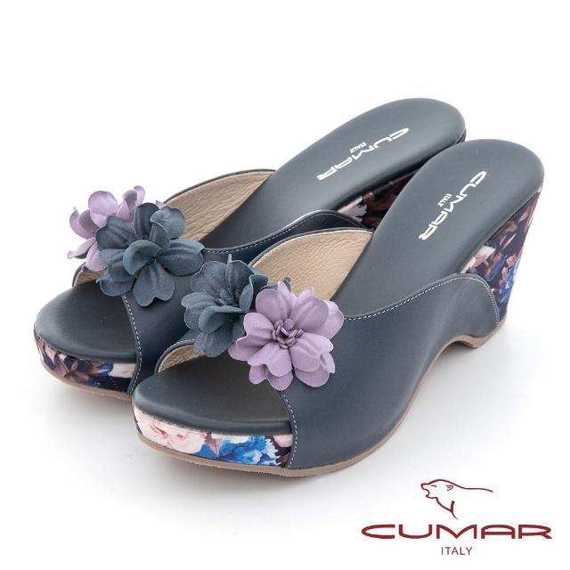 【CUMAR】花色拼接皮革楔型台涼拖鞋(靚藍)