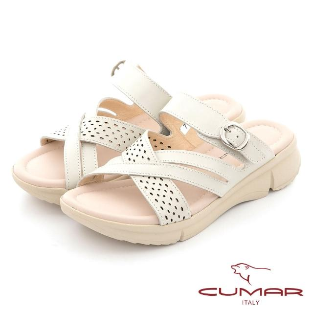 【CUMAR】沖孔交叉線條彈力舒壓大底涼拖鞋(米色)