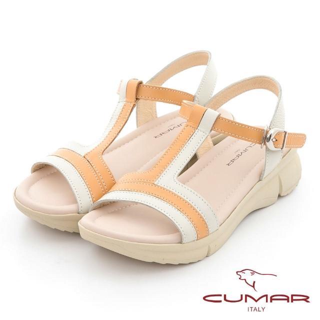 【CUMAR】配色工字帶彈力舒壓大底涼鞋(米色)