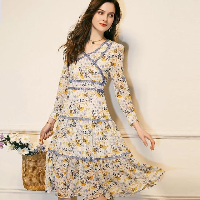 【A'bella 艾貝菈】多層藍編織滾邊松果小花印花洋裝(中大尺碼/S-3XL)