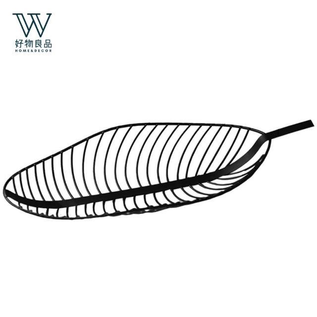 【好物良品】北歐手工金屬風樹葉造型收納盤-黑色(水果盤/零食/雜物/餐桌)