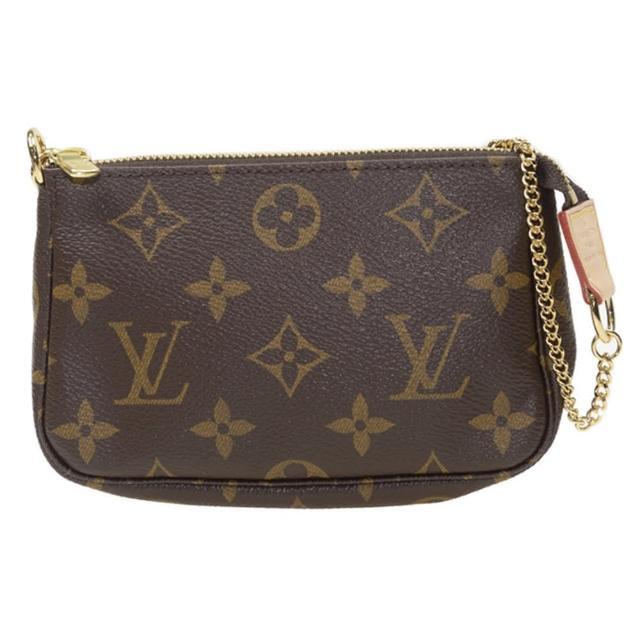 【Louis Vuitton 路易威登】LV M58009 經典Monogram帆布印花金色鍊條迷你手提小皮包