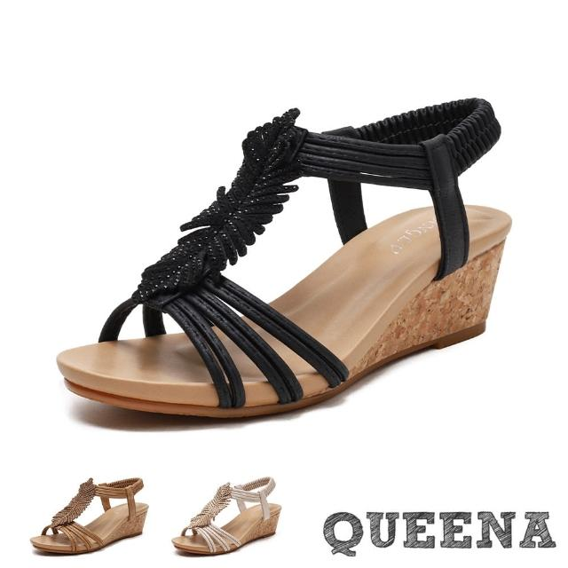 【QUEENA】坡跟涼鞋 縷空涼鞋/美鑽葉片縷空線繩造型坡跟羅馬涼鞋(3色任選)