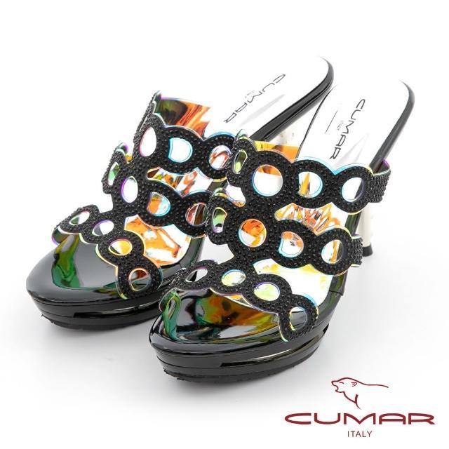 【CUMAR】雷射鏤空排鑽防水台高跟涼拖鞋(黑色)