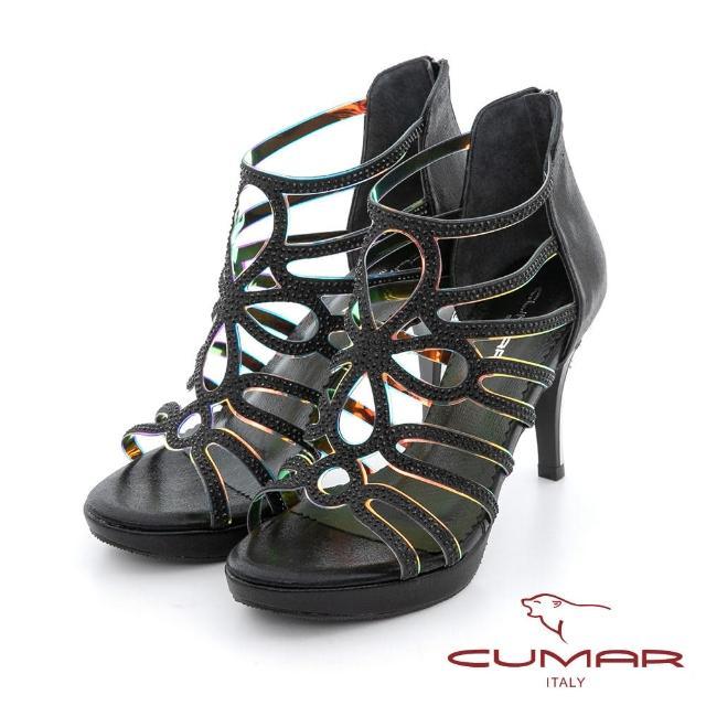 【CUMAR】雷射鏤空排鑽防水台高跟涼鞋(黑色)