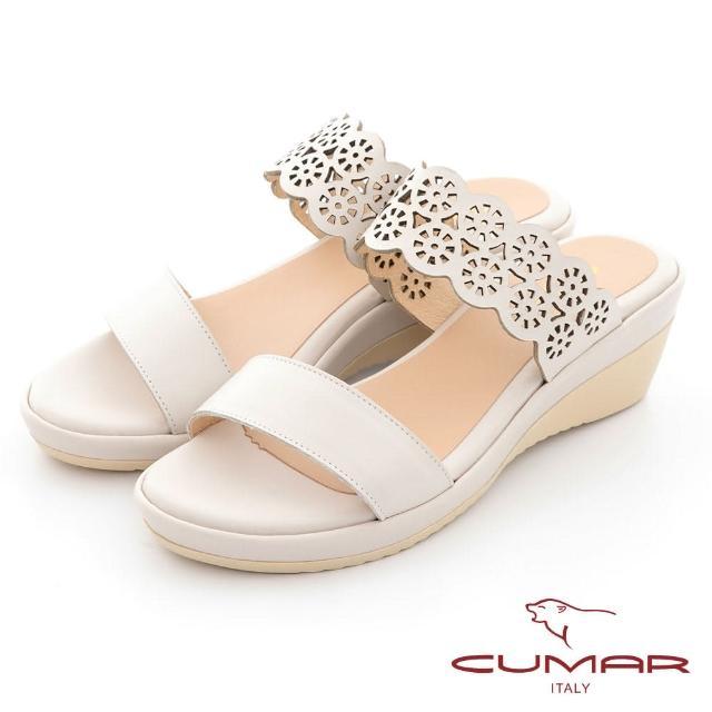 【CUMAR】簡約花朵沖孔涼拖鞋(米色)