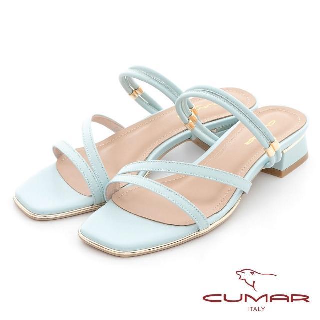 【CUMAR】兩穿式不對稱線條粗跟低跟涼鞋(水藍)