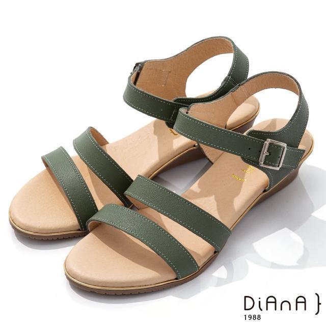 【DIANA】4cm 質感牛皮環踝皮帶釦飾羅馬涼鞋-異國風情(綠)
