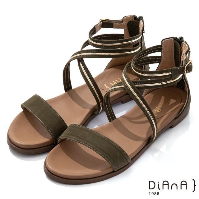 【DIANA】1.8cm 質感牛皮金屬飾條環繞羅馬低跟涼鞋(綠)