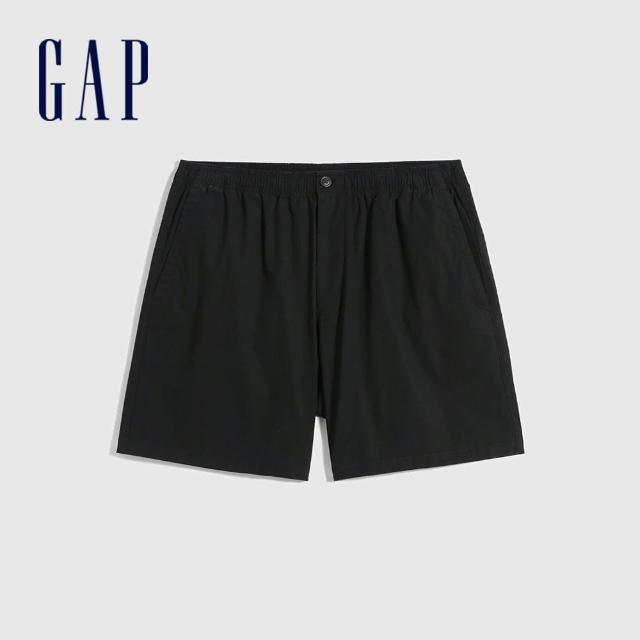 【GAP】男裝 素色棉質鬆緊休閒短褲(701282-黑色)