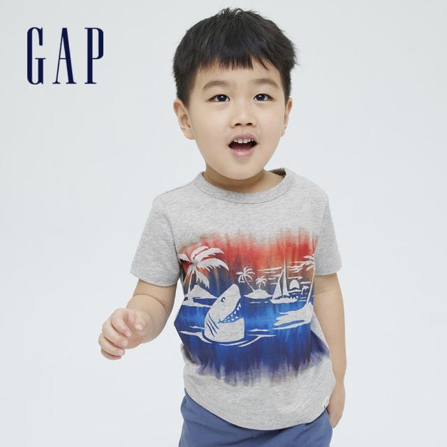 【GAP】男幼童 布萊納系列 趣味動物印花純棉T恤(701448-灰色)