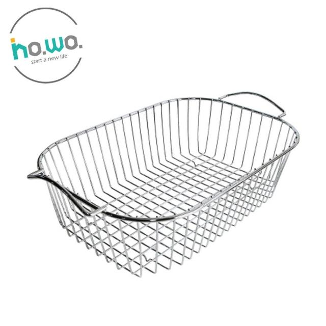 【HO.WO】橢圓形滴水籃-大(碗盤瀝水籃/不鏽鋼收納籃/不鏽鋼提籃)