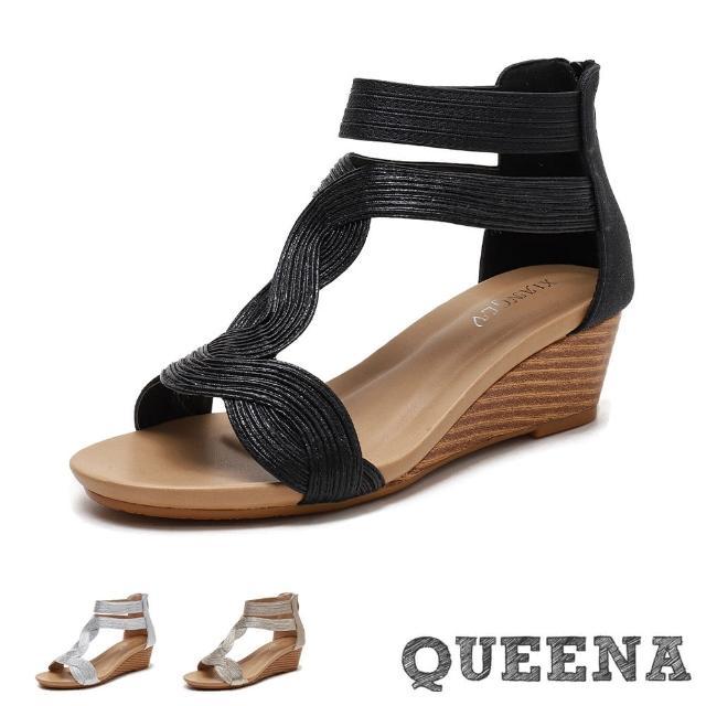 【QUEENA】楔型涼鞋 T字涼鞋/金屬線繩纏繞T字造型坡跟羅馬涼鞋(3色任選)