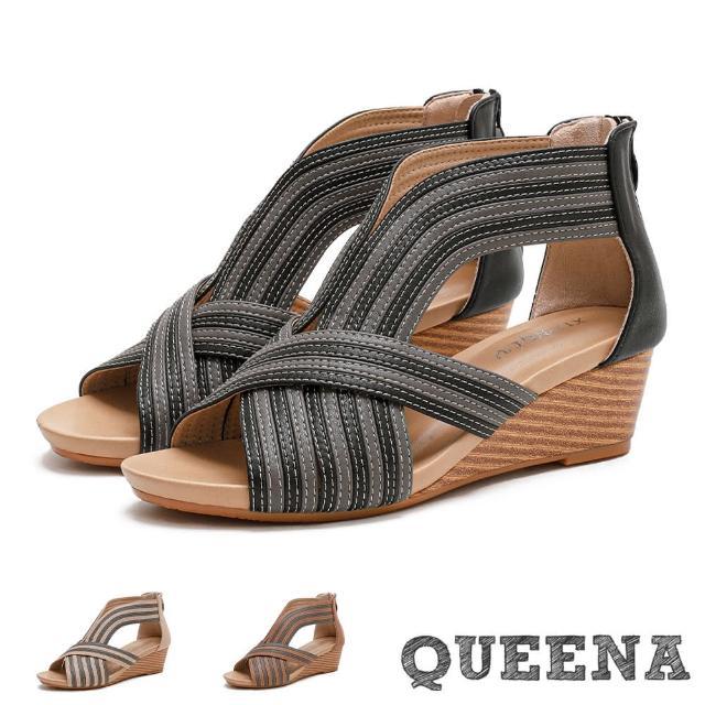 【QUEENA】楔型涼鞋 坡跟涼鞋/時尚歐美撞色皮革車線拼接造型坡跟羅馬涼鞋(3色任選)