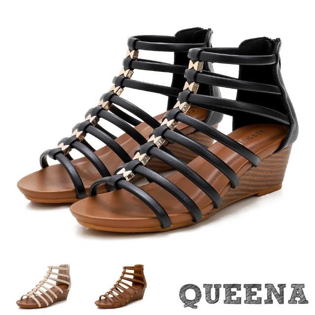 【QUEENA】坡跟涼鞋 羅馬涼鞋/歐美時尚經典線繩縷空復古坡跟羅馬涼鞋(3色任選)