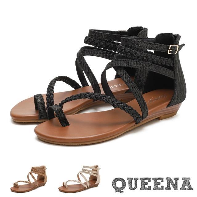 【QUEENA】羅馬涼鞋 夾腳涼鞋/經典指環編織繞帶造型時尚低跟羅馬涼鞋(3色任選)