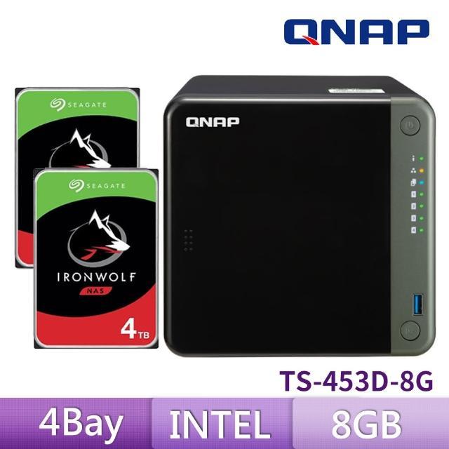 【送希捷 4TB x2】QNAP 威聯通 TS-453D-8G 4Bay 網路儲存伺服器