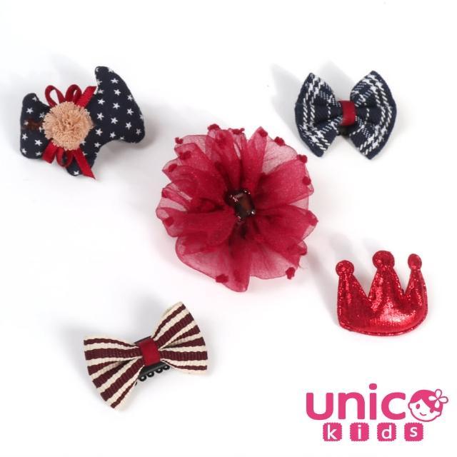【UNICO】兒童 少髮量寶寶英倫風淑女髮夾組合-5入組(髮飾/配件/英倫風淑女)
