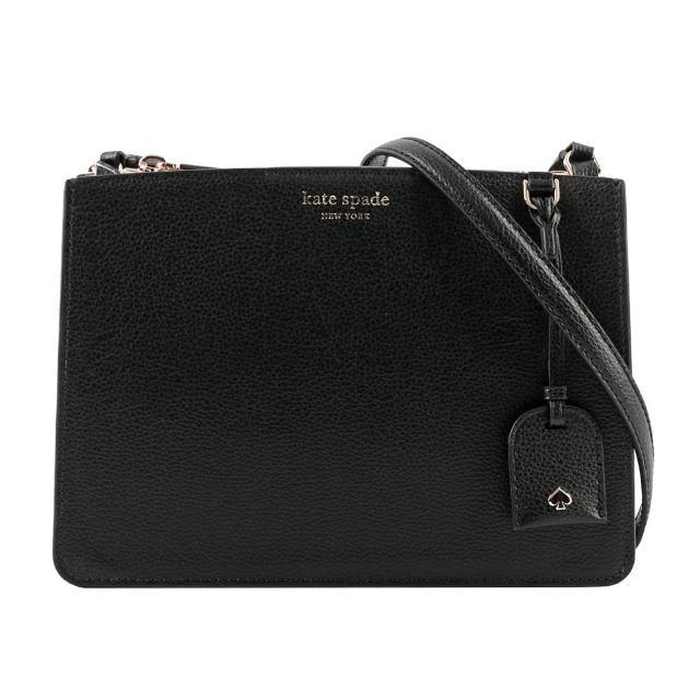 【KATE SPADE】Eva 素面皮革風琴式設計三層斜背包(黑色)