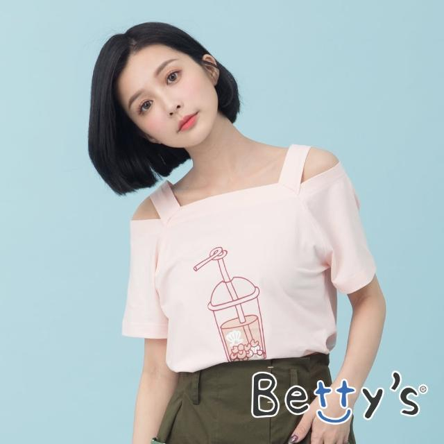 【betty's 貝蒂思】方領肩帶印花上衣(粉色)