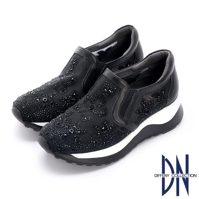 【DN】休閒鞋_花卉刺繡鑽飾點綴厚底休閒鞋(黑)