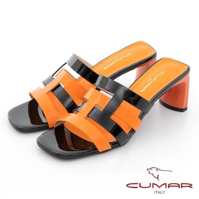 【CUMAR】時髦復古方頭撞色編織鏤空扁跟涼拖鞋(黑配桔)