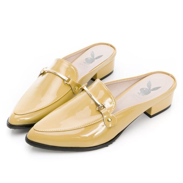 【PLAYBOY】玩美小時光 慵懶個性漆皮穆勒鞋-黃-YD7316BB