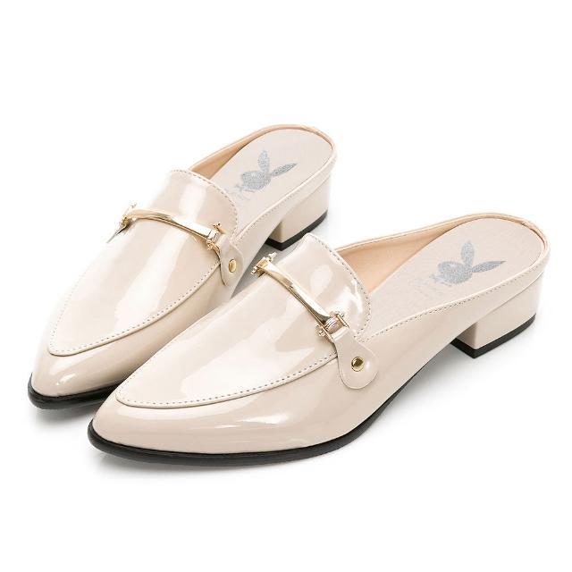 【PLAYBOY】玩美小時光 慵懶個性漆皮穆勒鞋-米-YD731633