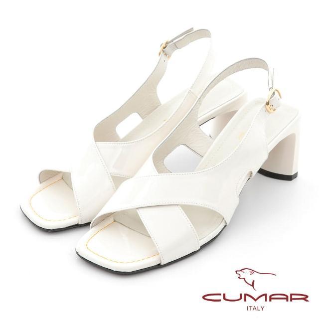 【CUMAR】時髦復古方頭漆皮大交叉扁跟涼鞋(白亮漆皮)