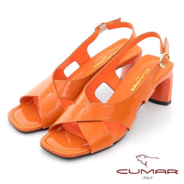 【CUMAR】時髦復古方頭漆皮大交叉扁跟涼鞋(桔亮漆皮)