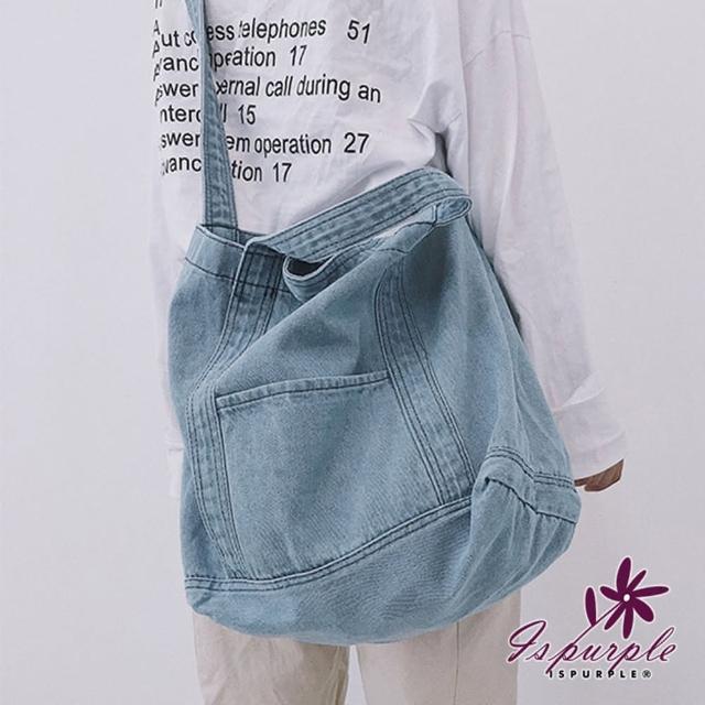 【iSPurple】牛仔帆布*率性大容量購物手提肩背包